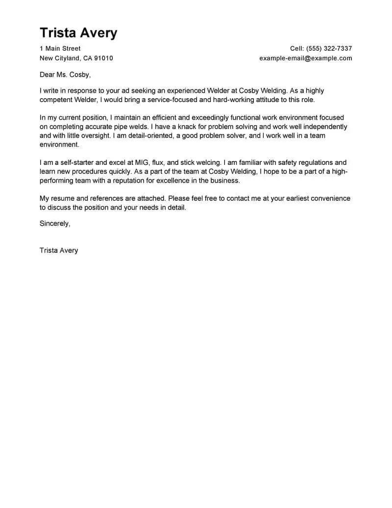 resume cover letter examples for welders