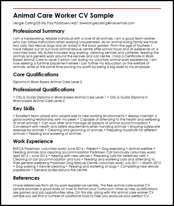 Animal Care Worker CV Sample MyperfectCV - Good Job Qualifications