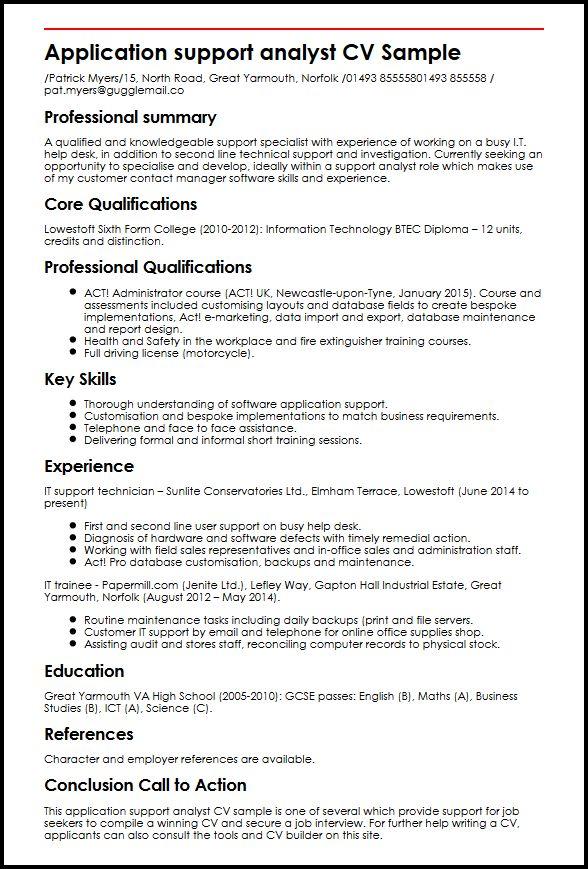 Application support analyst CV Sample MyperfectCV