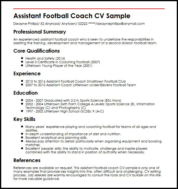 coaching cv example