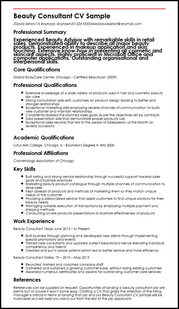cv for cosmetics job