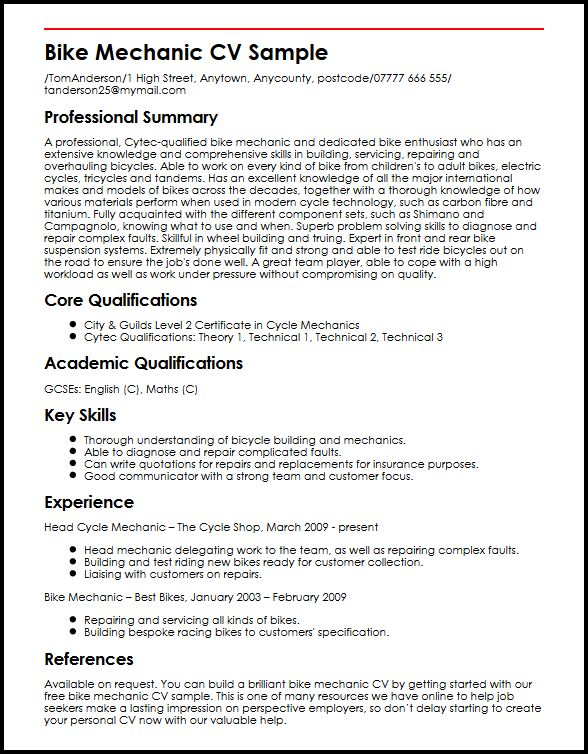 cv format uk sample
