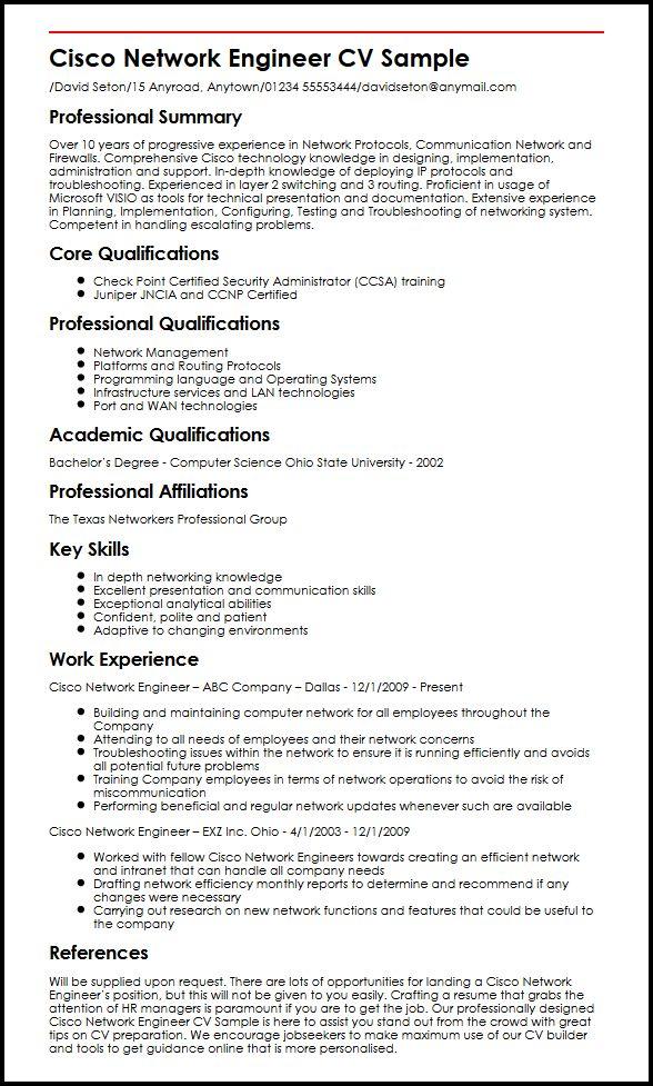 Cisco Network Engineer CV Sample MyperfectCV