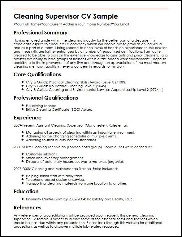 Cleaning Supervisor CV Sample MyperfectCV
