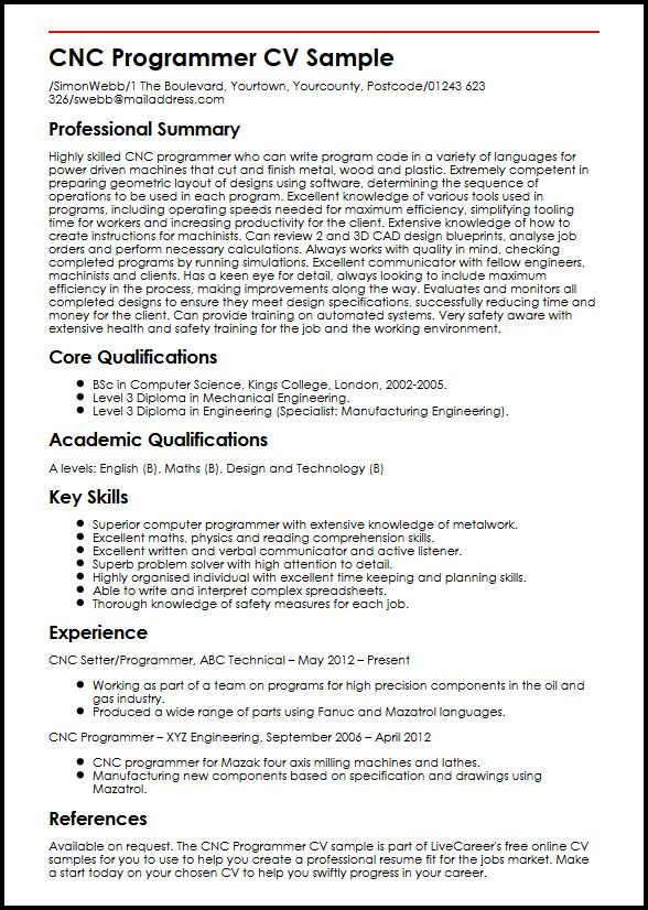 sample cnc programmer engineering resume