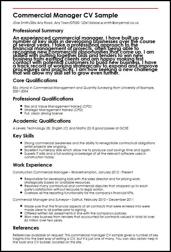 Commercial Manager CV Sample MyperfectCV - bid manager sample resume