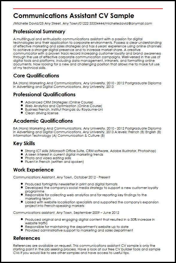 Communications Assistant CV Sample MyperfectCV
