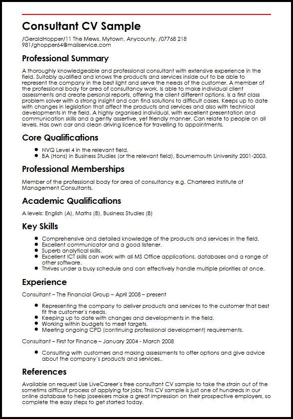 cv consultant bilan competence