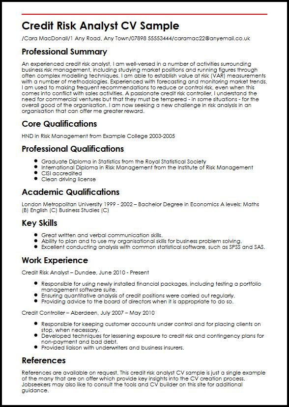 Credit Risk Analyst CV Sample MyperfectCV