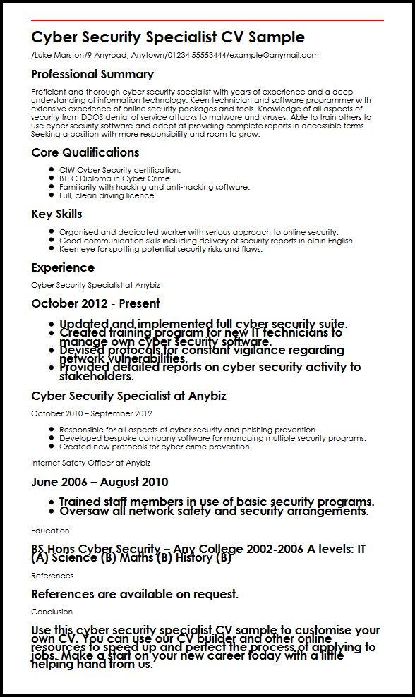 Cyber Security Specialist CV Sample MyperfectCV