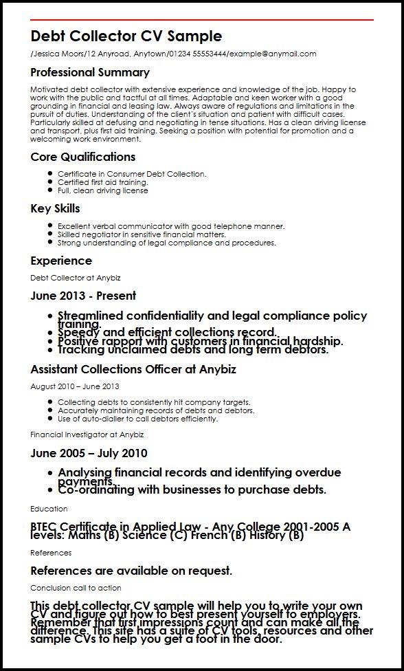 Debt Collector CV Sample MyperfectCV