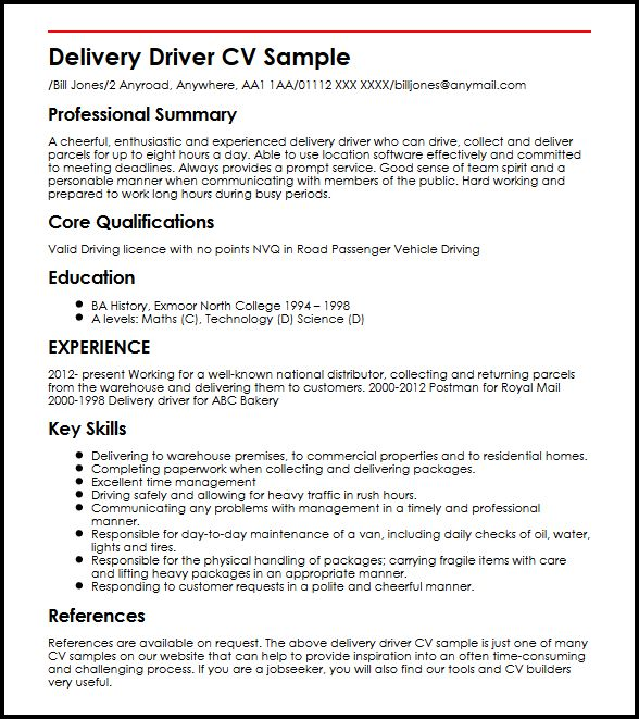 example cv for a delivery driver