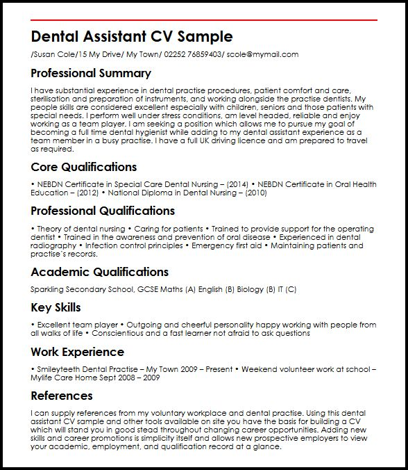 Dental Assistant MyperfectCV
