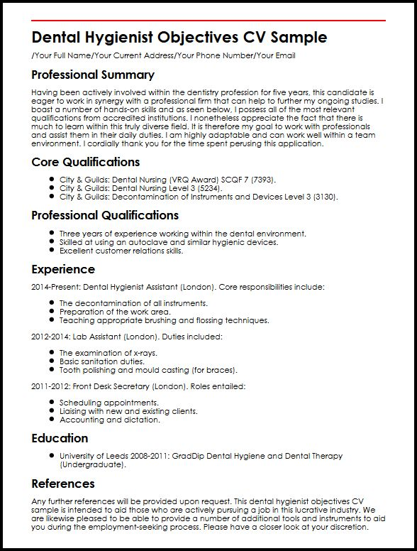 sample dental hygienist resume objectives