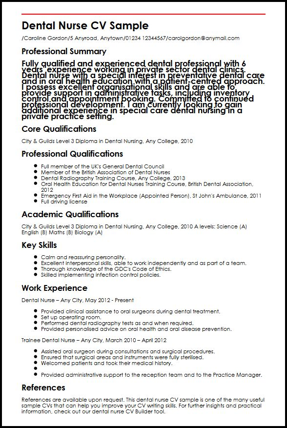 Dental Nurse CV Sample MyperfectCV