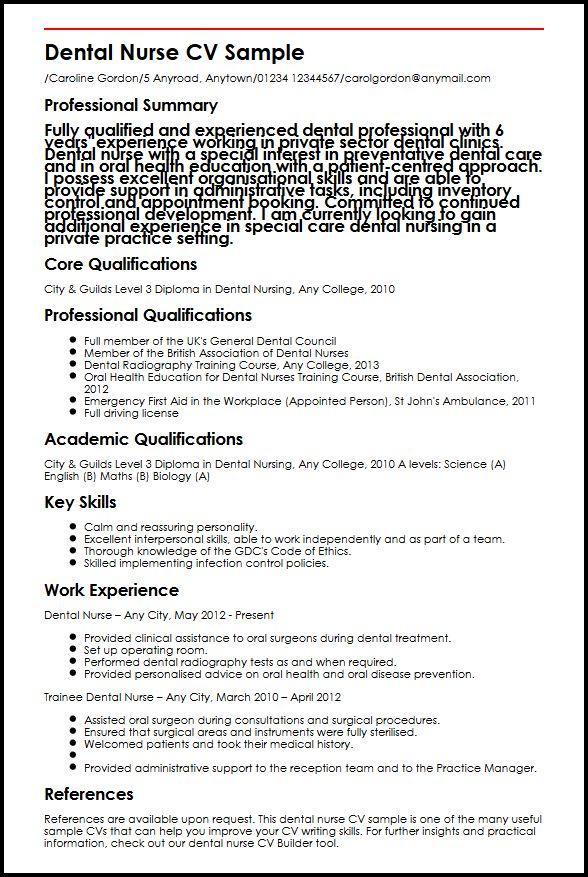 dental nurse resume sample