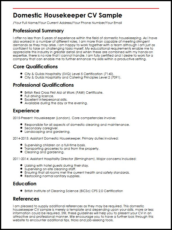 Domestic Housekeeper CV Sample MyperfectCV
