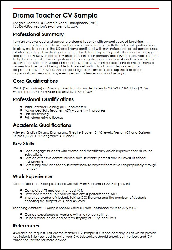 Drama Teacher CV Sample MyperfectCV