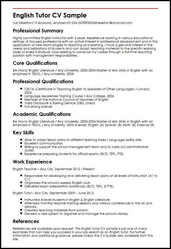 english tutor resume samples
