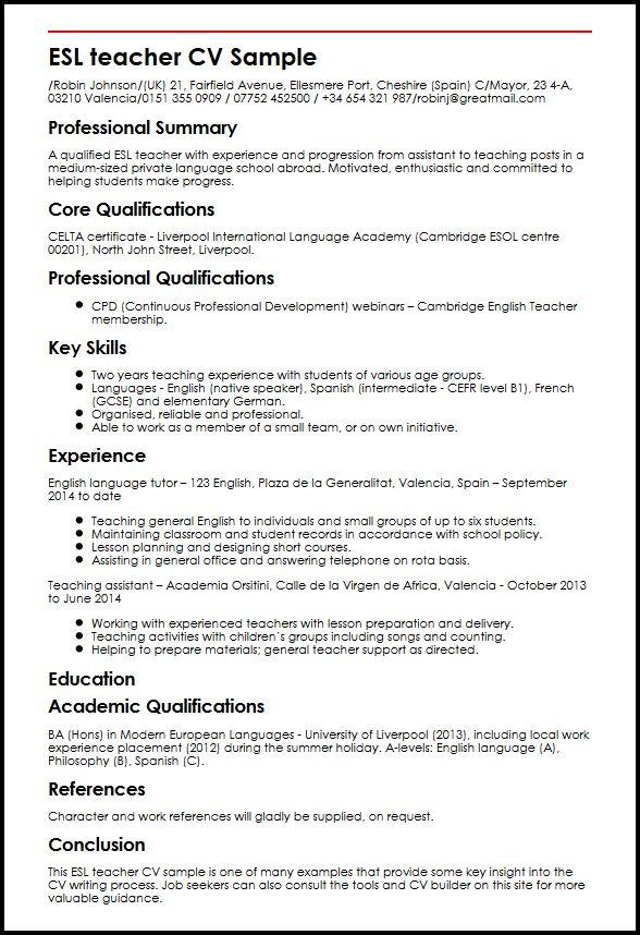 ESL teacher CV Sample MyperfectCV