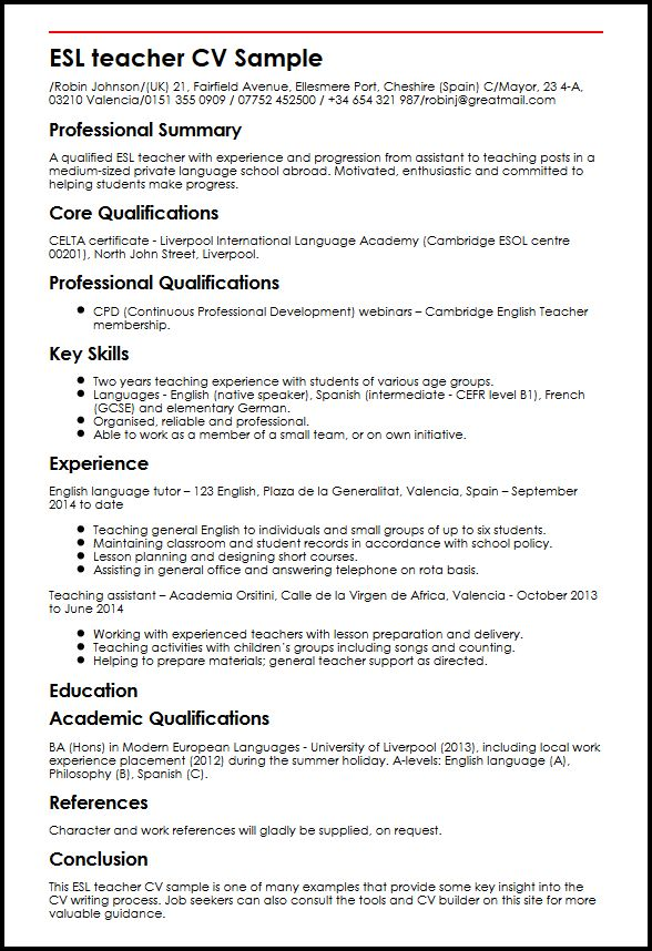 example of cv english teacher uk
