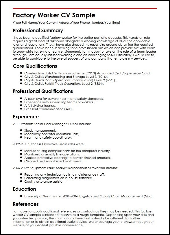Factory Worker CV Sample Curriculum Vitae