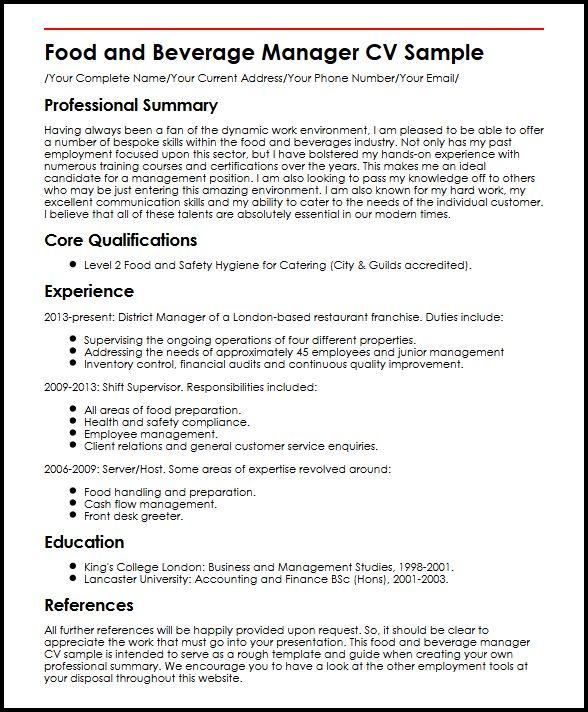 Food and Beverage Manager CV Sample MyperfectCV