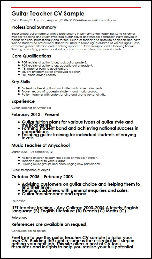 guitar teacher english cv