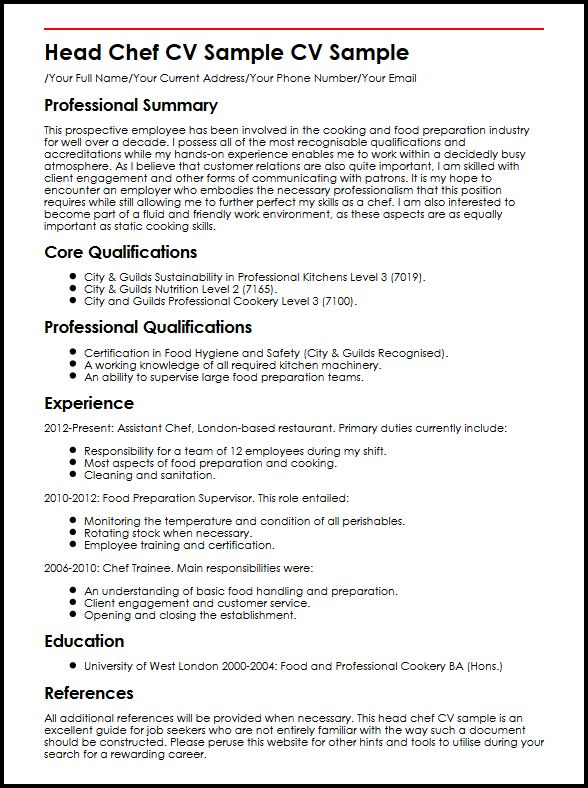 Head Chef CV Sample MyperfectCV