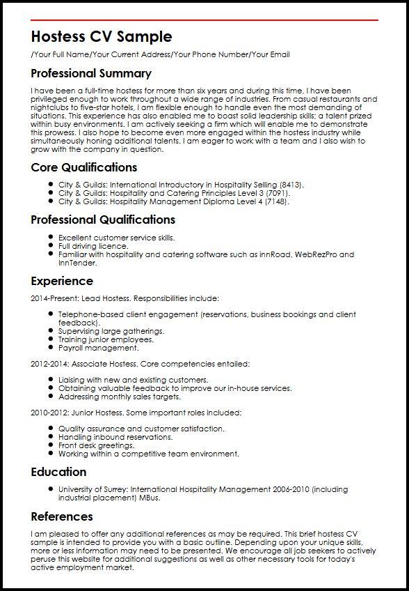 sample resume summary for hostess