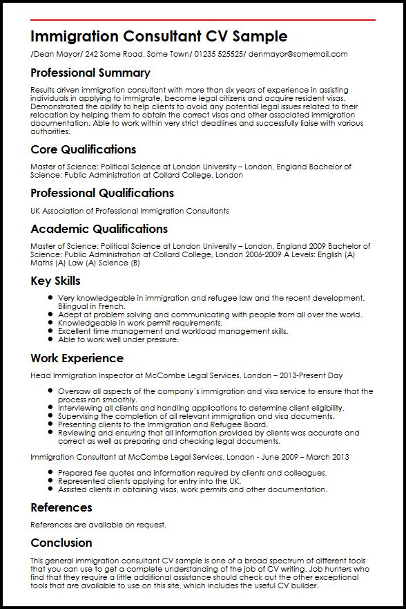 immigration counsellor resume sample