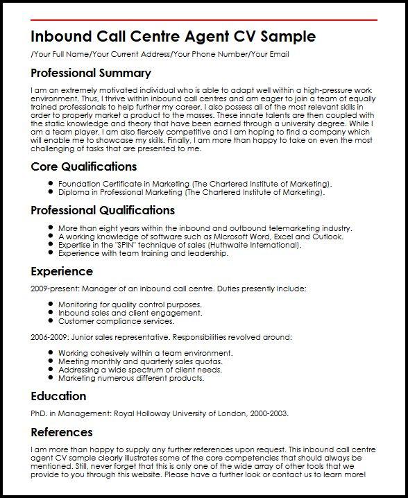 Inbound Call Centre Agent CV Sample MyperfectCV - call centre resume sample