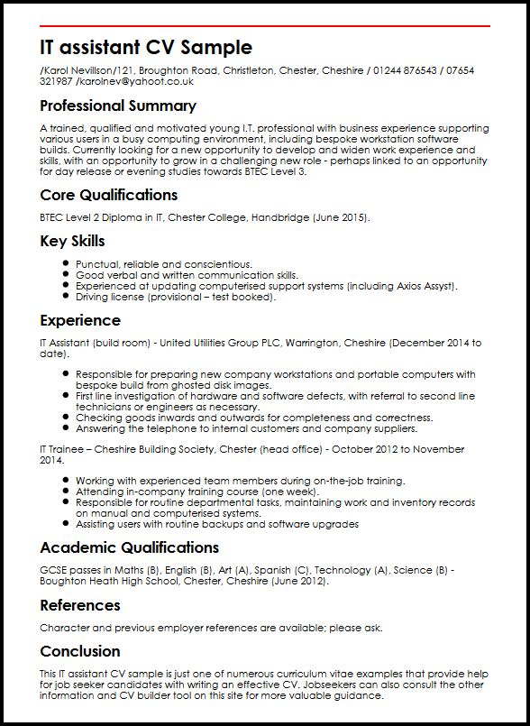 different english level cv