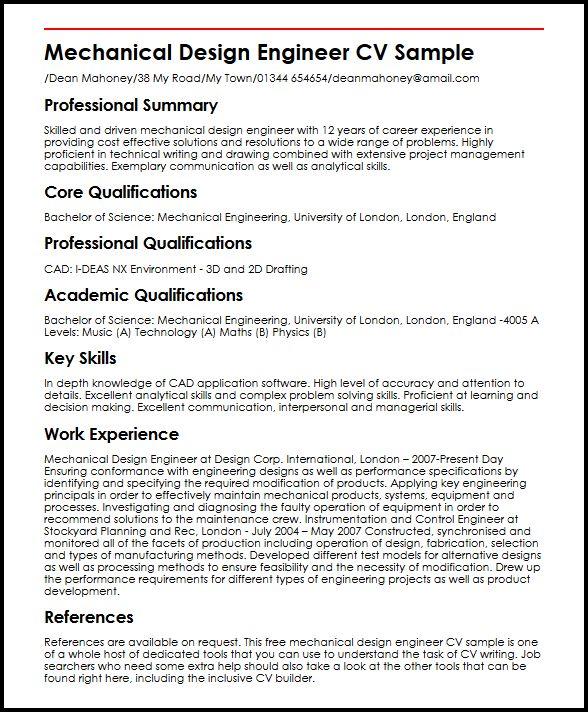 resume format design engineer mechanical