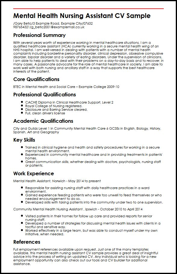 Mental Health Nursing Assistant CV Sample MyperfectCV
