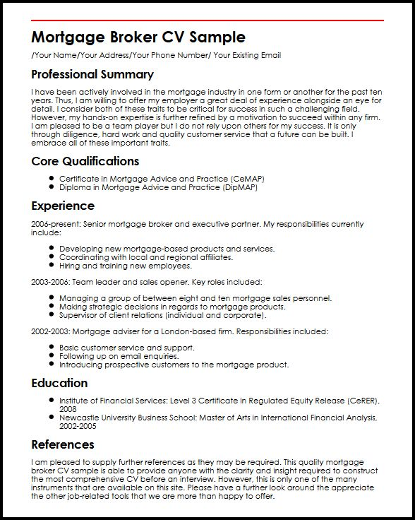 Mortgage Broker CV Sample MyperfectCV
