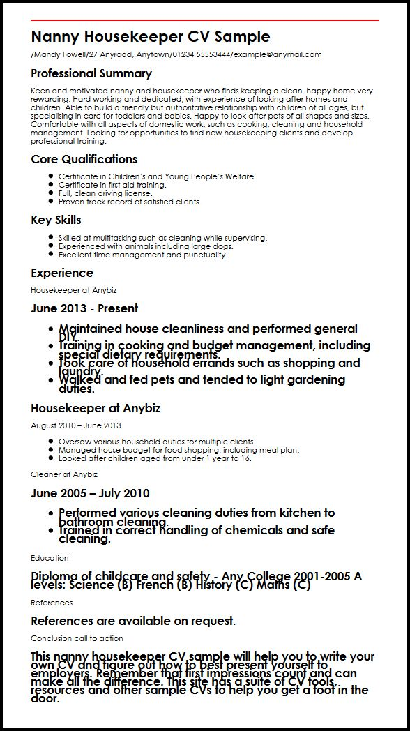 sample resume for a nanny housekeeper