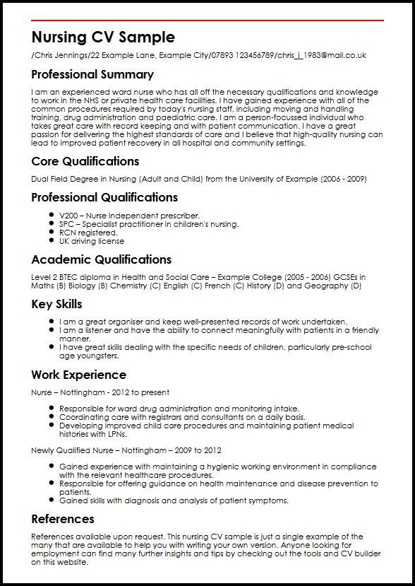 bsc nursing resume sample