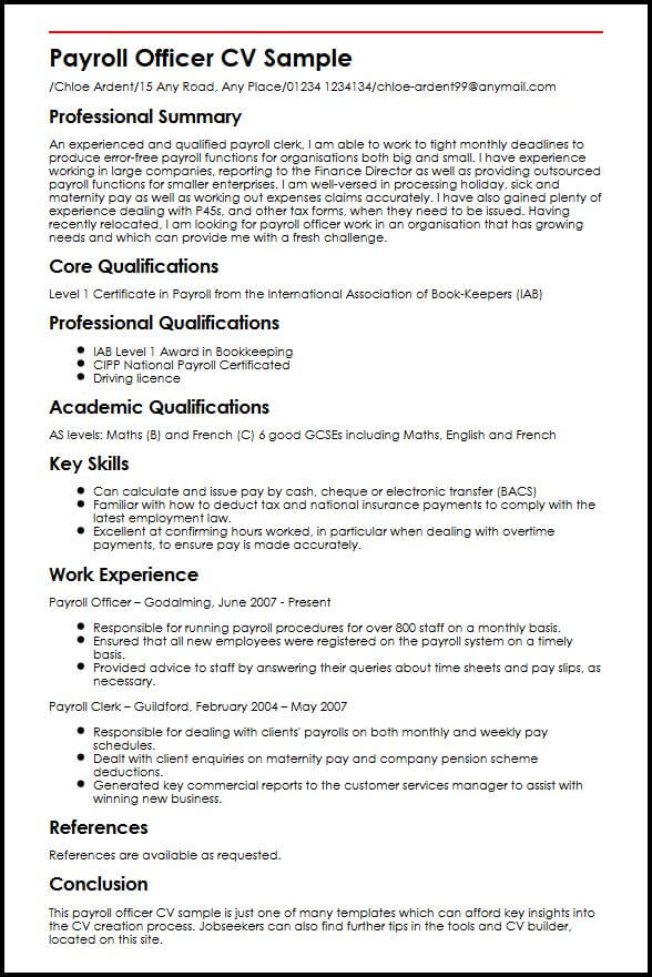 level in english cv