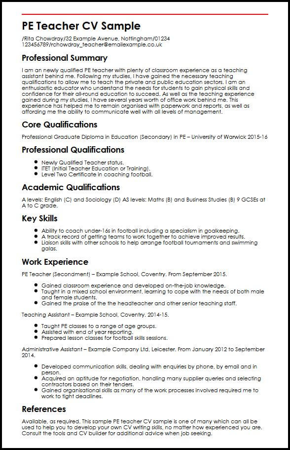 private tutor sample resume core qualifications