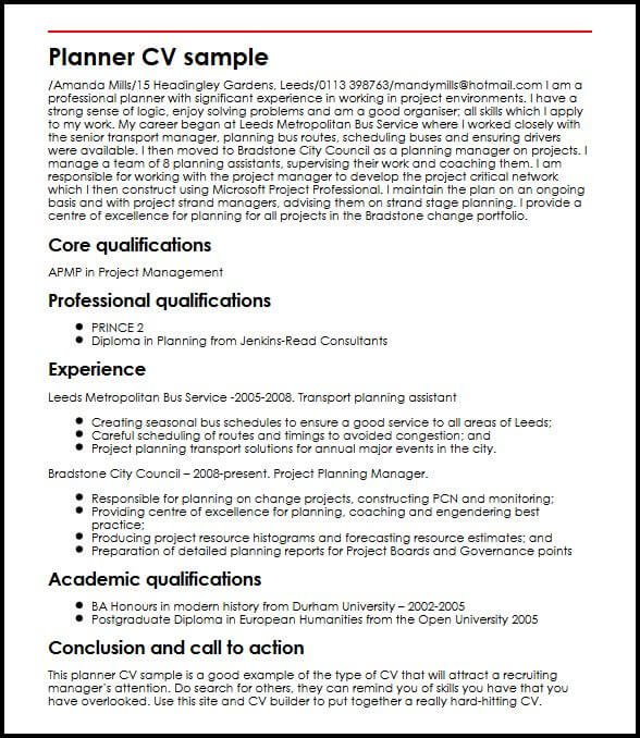 Planner CV sample MyperfectCV