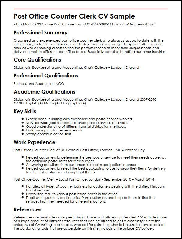 Post Office Counter Clerk CV Sample MyperfectCV