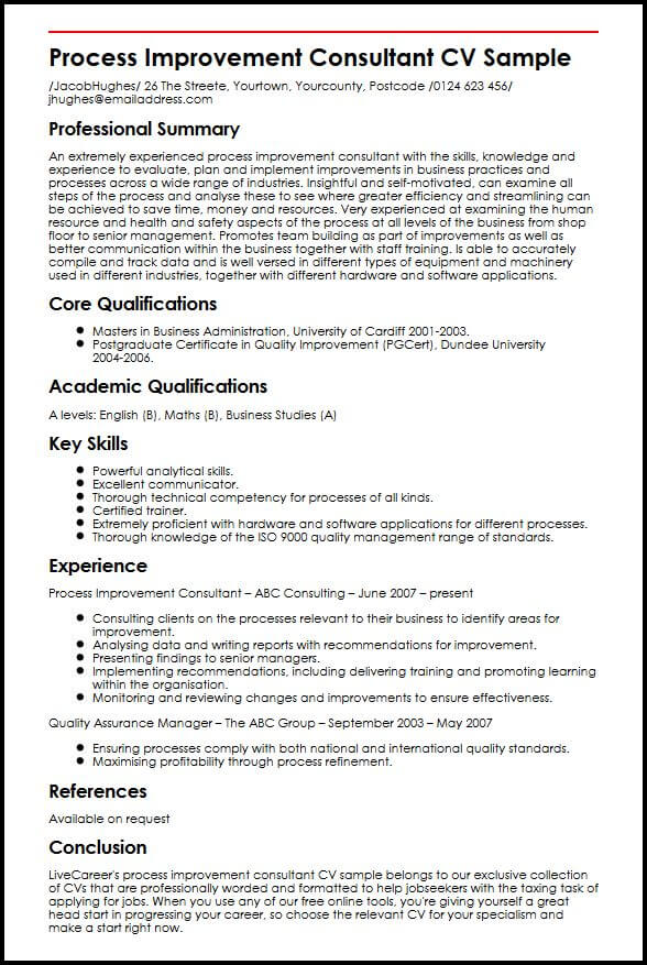 competence cv consultant