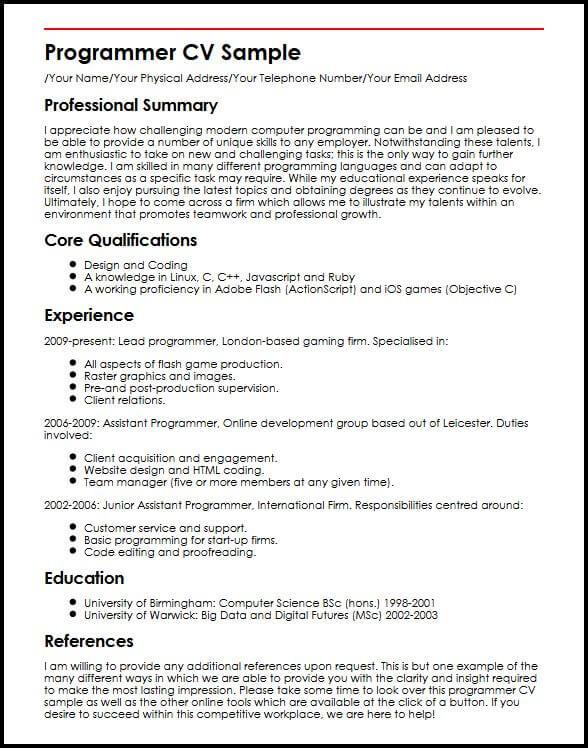 Programmer CV Sample Curriculum Builder
