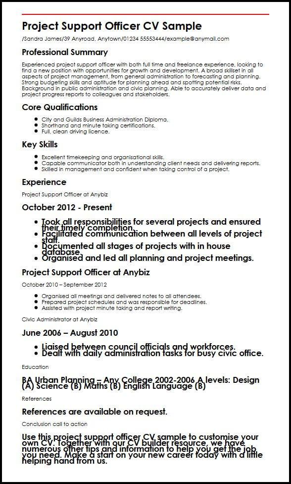 Project Support Officer CV Sample MyperfectCV