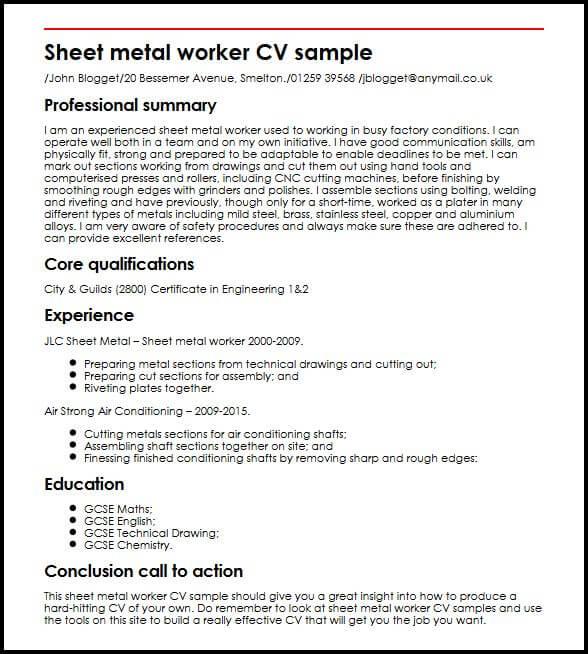 Sheet metal worker CV sample MyperfectCV