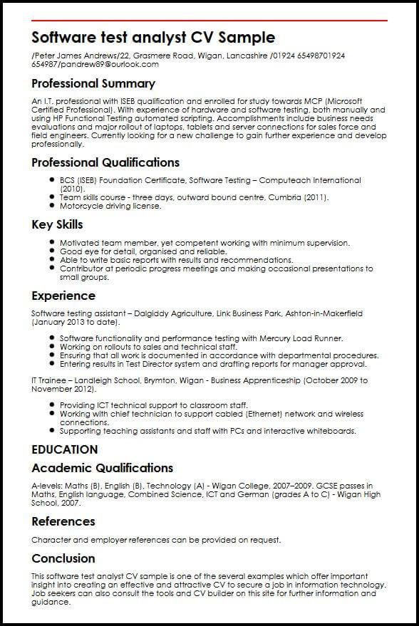 Software test analyst CV Sample MyperfectCV