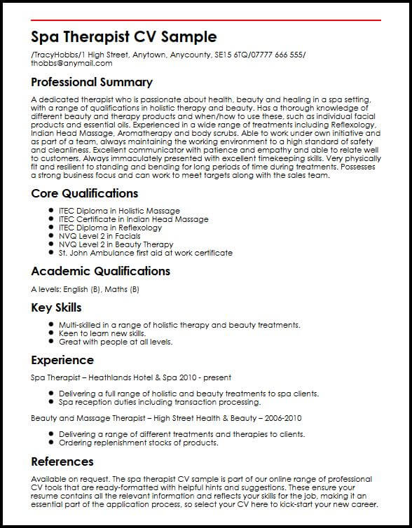 resume for beauty therapist