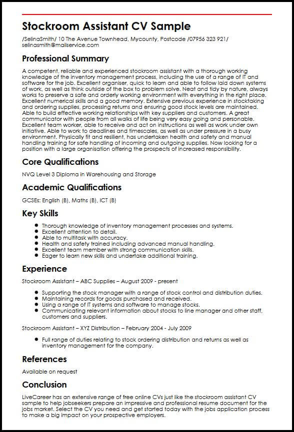 examples of core qualifications on a resume