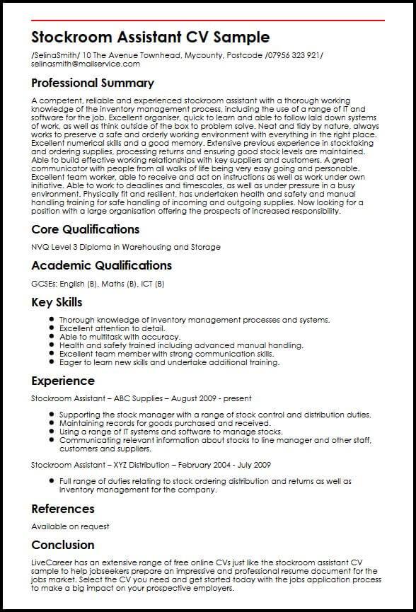 core skills examples cv